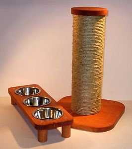 "3 bowl pet feeding station + 15"" sisal rope cat scratching post... combo set"