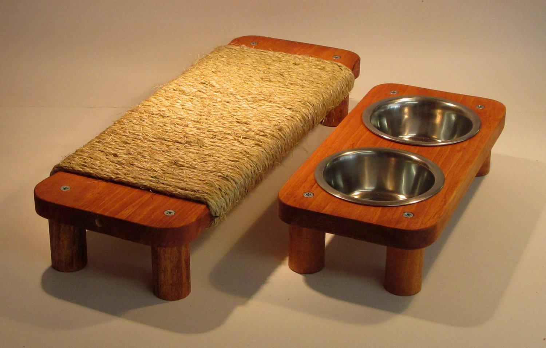 "2 Bowl pet feeding station 3� High + 17"" flat Sisal rope cat scratcher SET"
