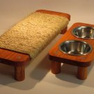 "2 Bowl pet feeding station 3"" High + 17"" flat Sisal rope cat scratcher SET"