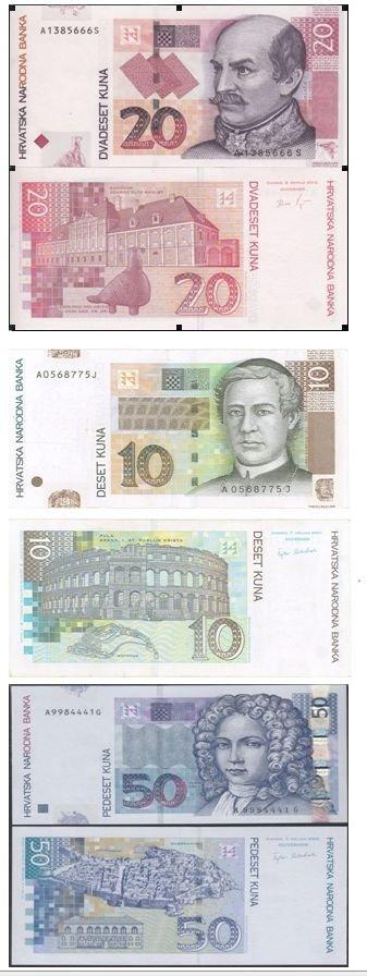 Croatian paper money 10, 20 and 50 Kuna