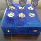 ANTIQUE / VINTAGE 6 SILVERPLATED GOBLETS in velvet case engraved from India