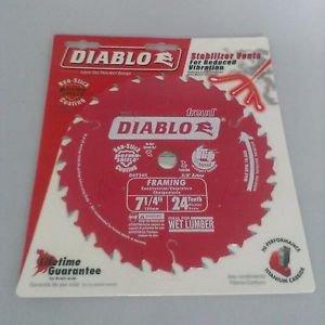 Freud D0724X Diablo 7-1/4-Inch 24 Tooth ATB Carbide Framing Saw Blade with 5/8-I