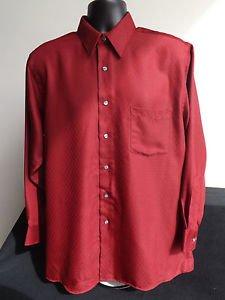 NEW MEN'S VAN HEUSEN LONG SLEEVE DRESS SHIRT RED L LARGE NECK 16 SLEEVE 32/33