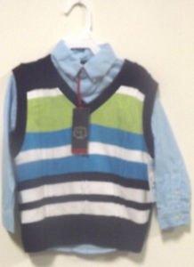 NEW WILL LOGAN LONG SLEEVE DRESS SHIRT/SWEATER VEST SET SIZE 4 BLUE/GREEN