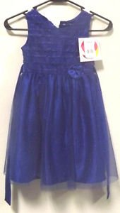 NWT NEW YOUNGLAND LITTLE GIRL'S HOLIDAY DRESS BLUE SPARKLES SLEEVELESS SIZE 5