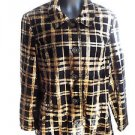 NEW WOMEN'S ERIN LONDON JACKET / COAT L LARGE BROWN & BLACK PLAID