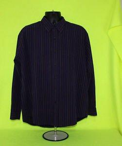Van Heusen Purple Striped Long Sleeve Dress Shirt  Neck 16-16.5 L Large
