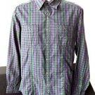 MENS KENNETH COLE REACTION LONG SLEEVE DRESS SHIRT M MEDIUM PURPLE & GREEN