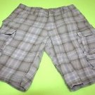 MENS LEE DUNGAREES SIZE 30 PLAID CARGO SHORTS BROWN BLUE WHITE