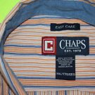 Chaps By Ralph Lauren Orange/Blue Striped Casual Dress Shirt XXL Extra Large