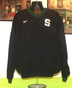 MEN'S REEBOK MICHIGAN STATE SPARTANS INSULATED PULLOVER L LARGE BLACK JACKET