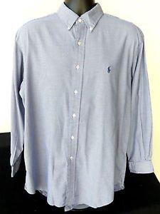MENS RALPH LAUREN YARMOUTH LONG SLEEVE DRESS SHIRT BLUE NECK 16.5 SLEEVE 32/33