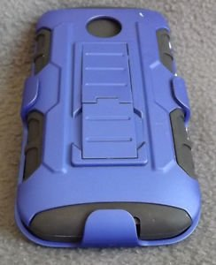 NEW MOTOROLA E 1ST GENERATION CASE WITH HOLSTER BLUE & BLACK