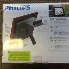 NEW PHILIPS 8'' HOME ESSENTIALS DIGITAL PHOTOFRAME LED PANEL MAHOGANT WOOD FRAME