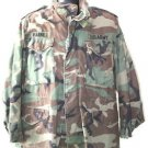 US ARMY COLD WEATHER FIELD JACKET WITH PATCHES M/S MEDIUM SHORT WOODLAND CAMO