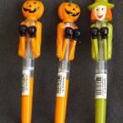 HALLOWEEN BOXING PENS 3 PIECE SET-PUMPKINS AND WITCH-ORANGE-GREEN-LED EYES