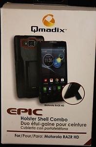 NEW QMADIX EPIC SWIVEL HOLSTER SHELL COMBO W/ KICKSTAND BLACK & RED