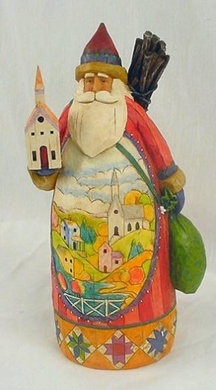 Jim Shore Quilted Santa Claus Holding Steeple Church