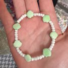 White Beaded Seashell Bracelet