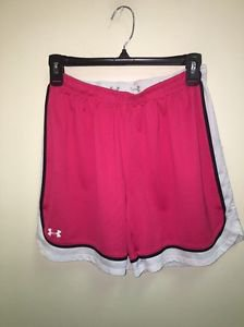 Women's Size Small Under Armour  HeatGear Pink White Black Athletic Shorts