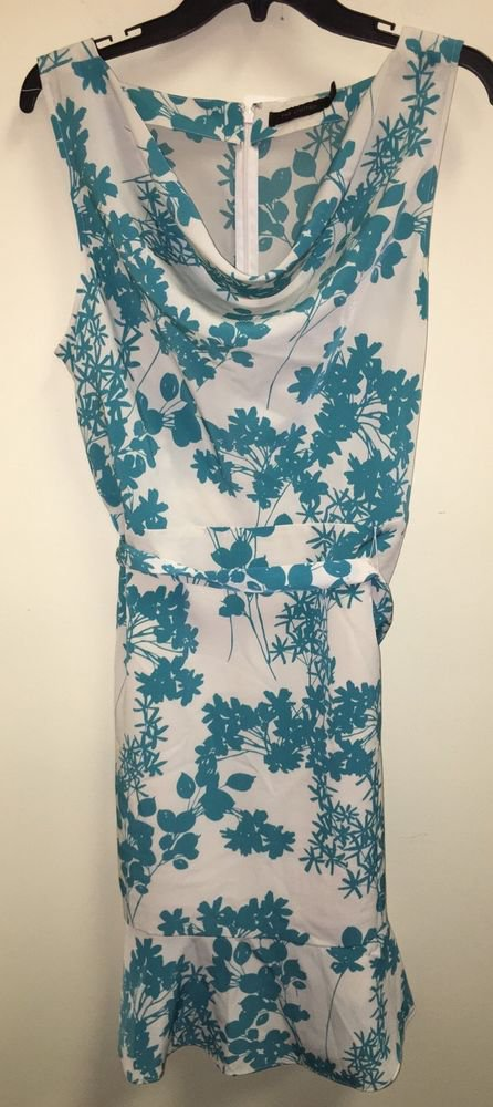 Women's The Limited Teal White Floral Drape Neck Dress Size 14