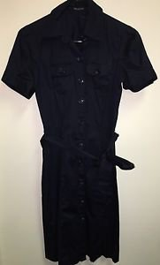 Women's The Limited  Size 2 Navy Blue Button Down Belted Dress