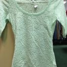 Women's Express Mint Green Lace 3/4 Sleeve Shirt. Size Extra Small