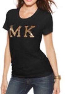 NWT Michael Kors Women's Large Black/gold Sequin Patch Short Sleeve T Shirt $97