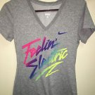 Nwot Women's Size Small Nike Dry Fit Gray Short-Sleeved V-Neck Shirt