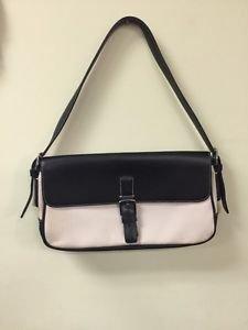 Coach Hampton 7702 Flap Black Leather & Pink Canvas Shoulder and Handbag Purse