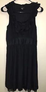 White House Black Market Size 8 Black Dress V Neck Ruffles Sleeveless