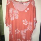 Women's Size Med Peach Orange&White Oversized Short Sleeve Blouse Juicy Couture