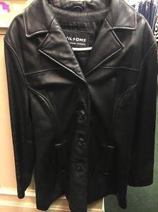 Men's Wilson Leather Experts Black Jacket. Size Large
