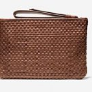 NWT Brown Leather Cole Haan Bethany Weave Pouch Clutch  $179