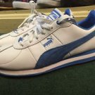 Excellent Gently Used PUMA Turin White and Blue  Leather Sneakers Women's 7