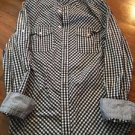 Men's Small Express Casual Fit Button Down Shirt Blue White Plaid