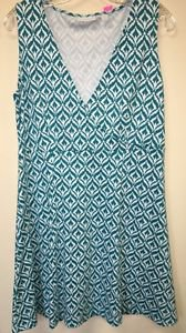 Women's Xl Teal White New York And Company V Neck Dress Sleeveless