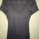 Women's Small Black Grey Pepper Leopard Print BKE Buckle Short Sleeve Shirt Nwot