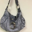 Guess Logo Silver With Leather Handbag Purse