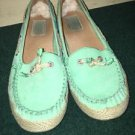 Women's Ugg Australia Green Flat Boat Shoes. Size 6.