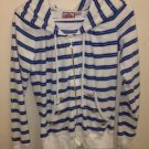 White & Blue Striped Juicy couture Zip Up Hoodie Jacket Women's Medium