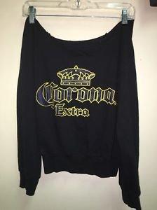 Women's Miami Style Size Small Black Cotton Corona Extra Off Shoulder Sweatshirt