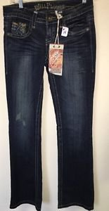 Women's Size 3 Wallflower Denim Jeans Vintage Dark Wash Boot Cut NWT