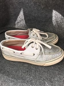 SPERRY TOP-SIDER 9773839 BAHAMA GLITTER SILVER SPARKLY BOAT SHOES SIZE 6
