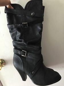 Women's Size 9 Black Tall Heel Riding Boots