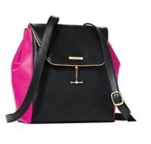 NWOT Juicy Couture Black & Hotpink Faux Leather Flap Backpack Bag