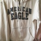 Men's Medium White Blue American Eagle Zip Up Hoodie Sweatshirt
