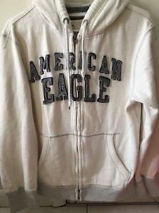 Men's Medium White Blue American Eagle Zip Up Hoodie Sweatshirt