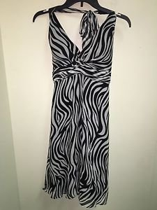 White House Black Market Size 2 Zebra Halter Dress
