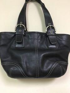 Authentic Coach Black Leather Soho Tote Purse #9544
